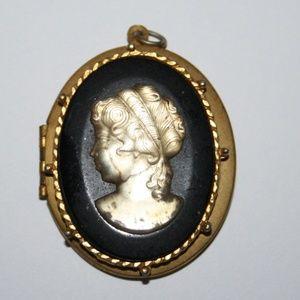Large vintage gold cameo locket pendant